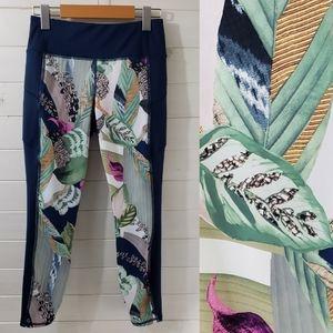 Athleta floral workout capris with zipper pockets